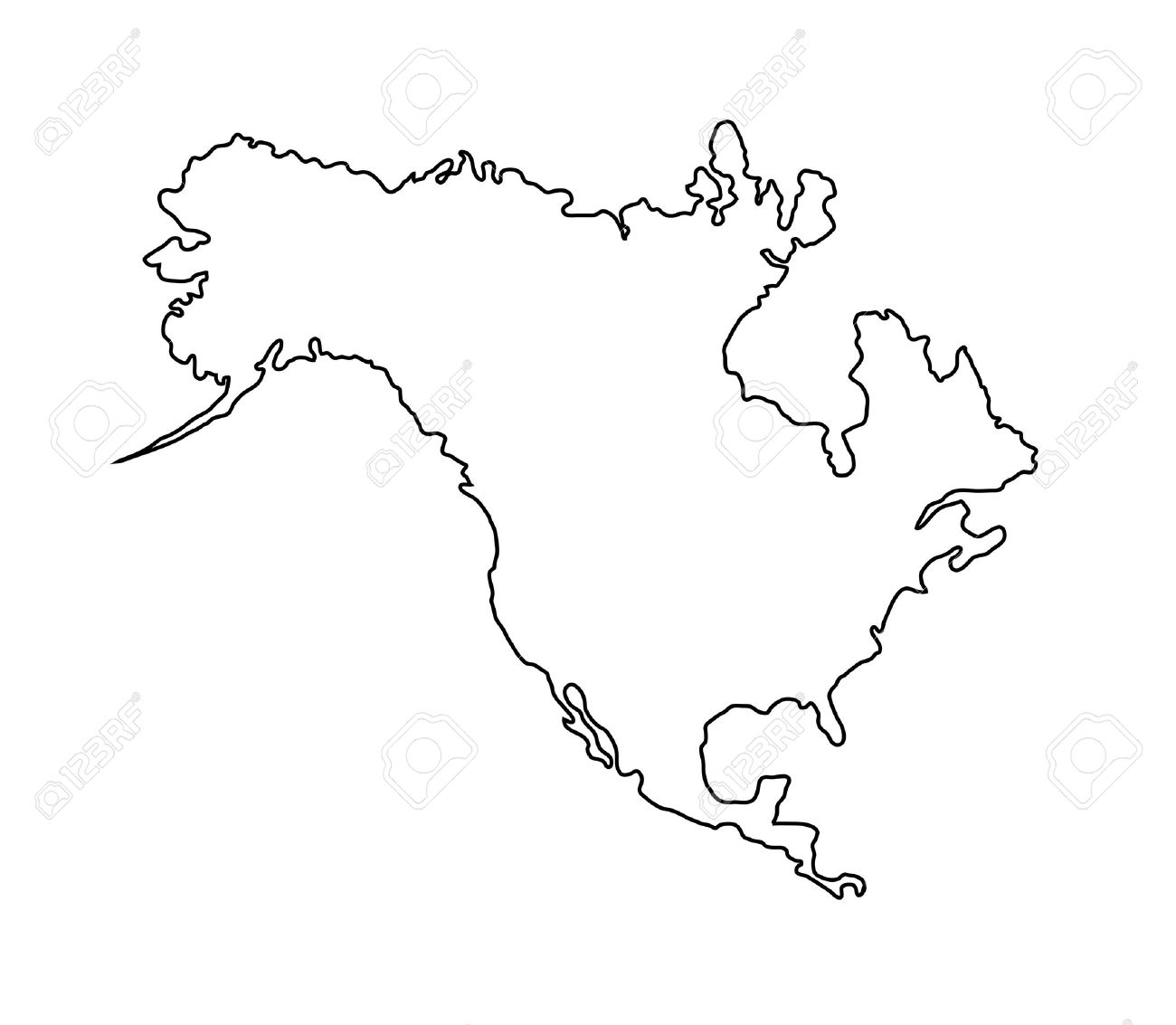 North America Map Isolated On White Stock Photo Picture And - North america map black and white