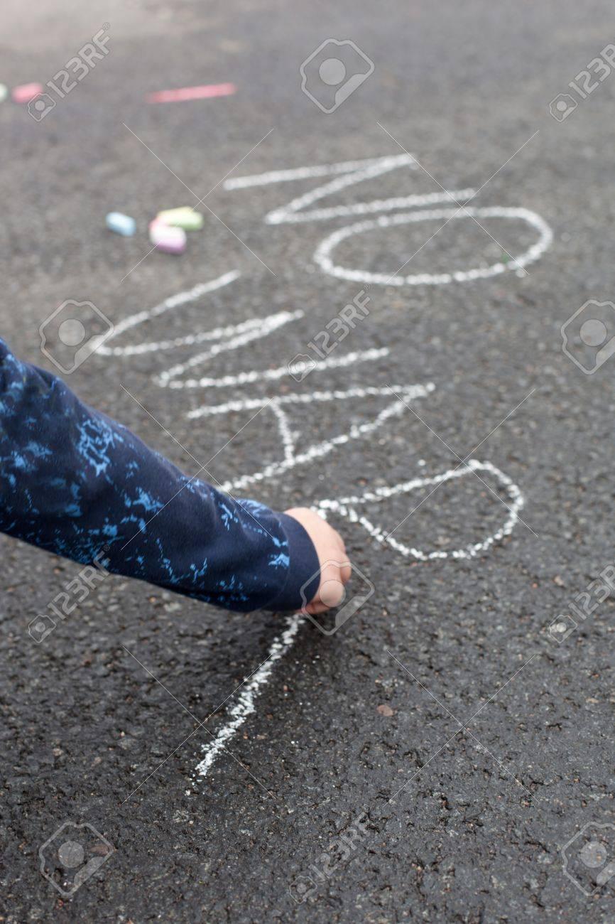 Child handwriting by chalk - NO WAR Stock Photo - 16852033