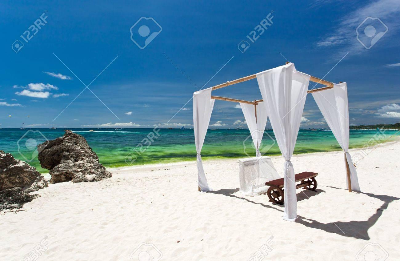 Wedding arch decorated on caribbean beach Stock Photo - 20336024