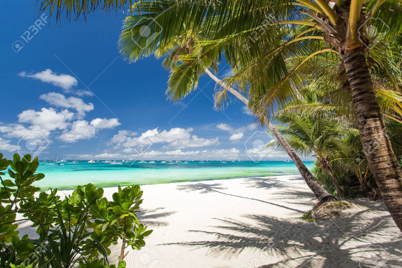 Tropical beach with white sand, Philippines, Boracay Island Stock Photo - 22769006