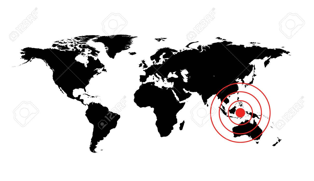 World Map Around Indonesia. Dangerous occurrence in Indonesia  World map illustration with red cirles accident sign Stock Illustration Occurrence In Map With
