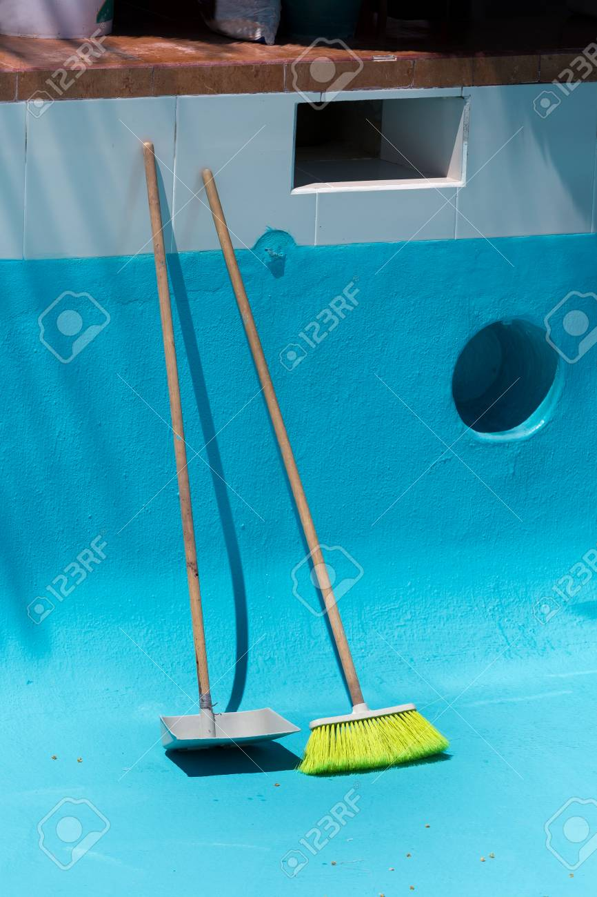 Cleaning Tools For Swimming Pool. Maintenance Process Stock Photo ...