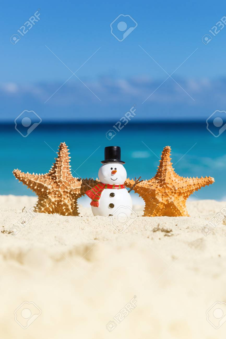 New Year And Christmas Card. Snowman Toy On Beach Close To Sea ...