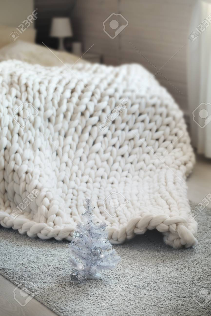 Merino Wool Knitted Large Blanket Lying On Bed, Decorated White ...