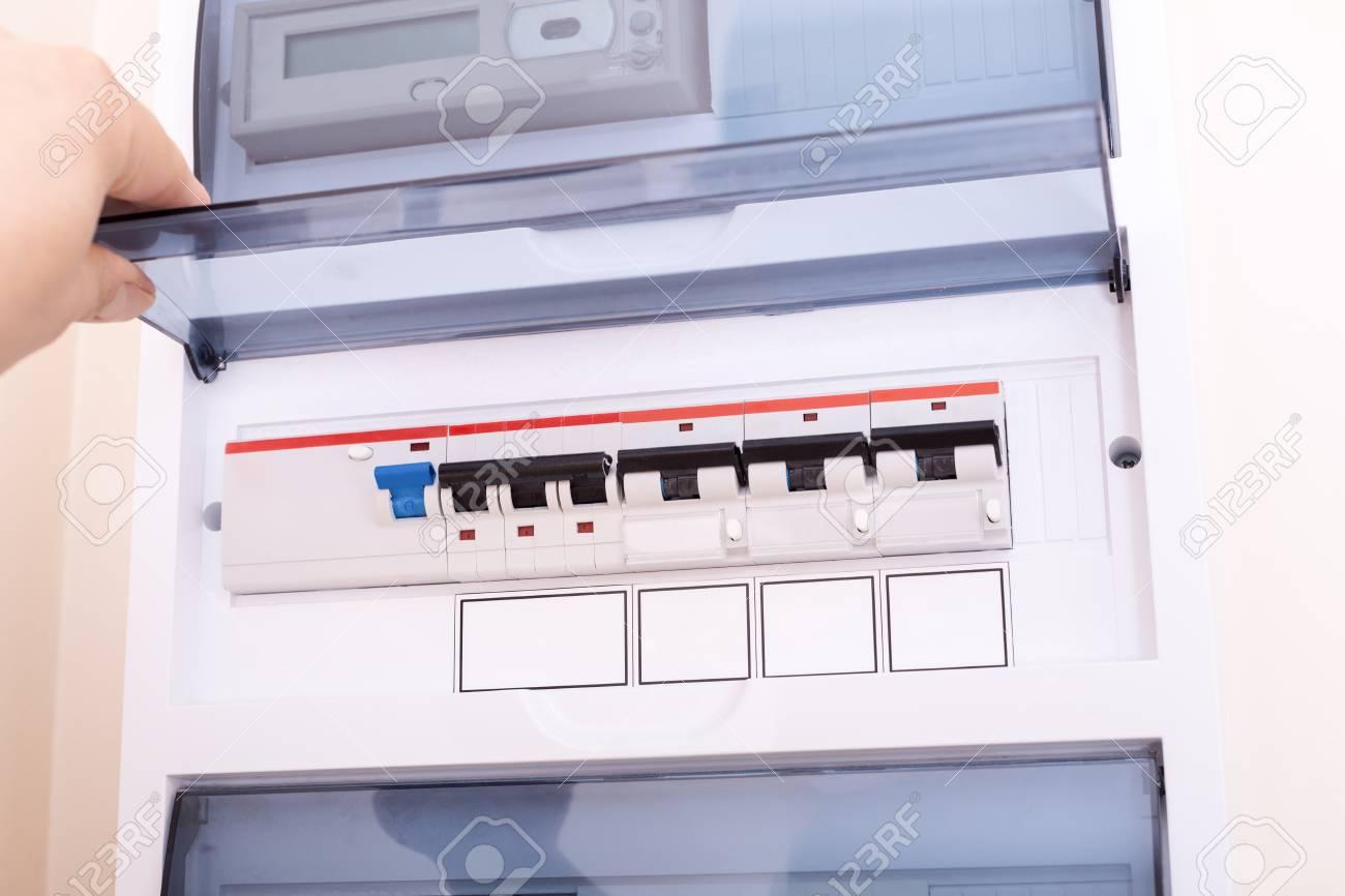 rcd circuit breaker board  fusebox at the apartment stock photo - 108444213