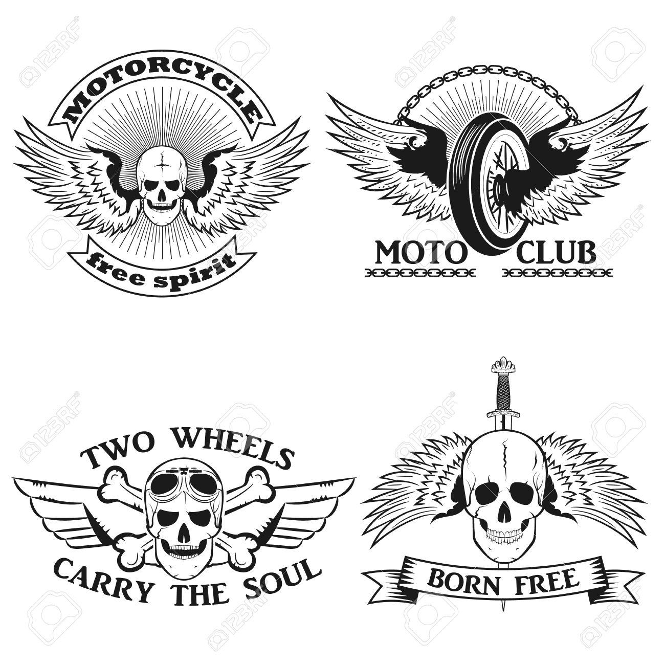 Moto logo biker stripe skull with wings motorcycle wheel skull and bones biker