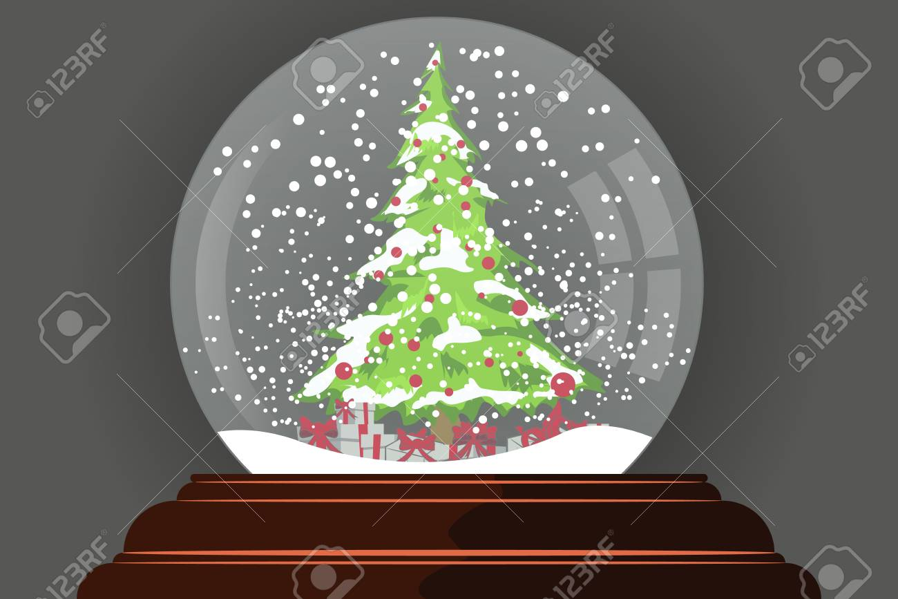 snow globe with christmas tree inside new year and christmas symbol stock vector