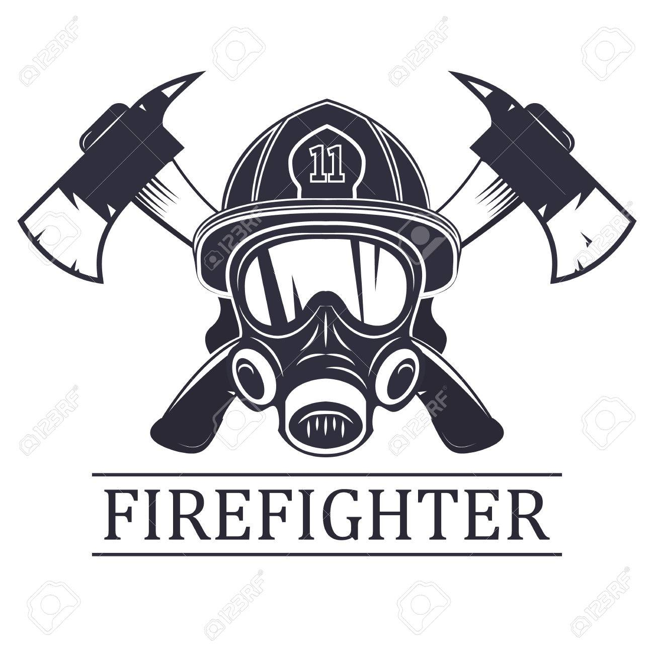 Favorite Firefighter. Emblem, Icon, Logo. Fire. Mask Firefighter And Two  AG25