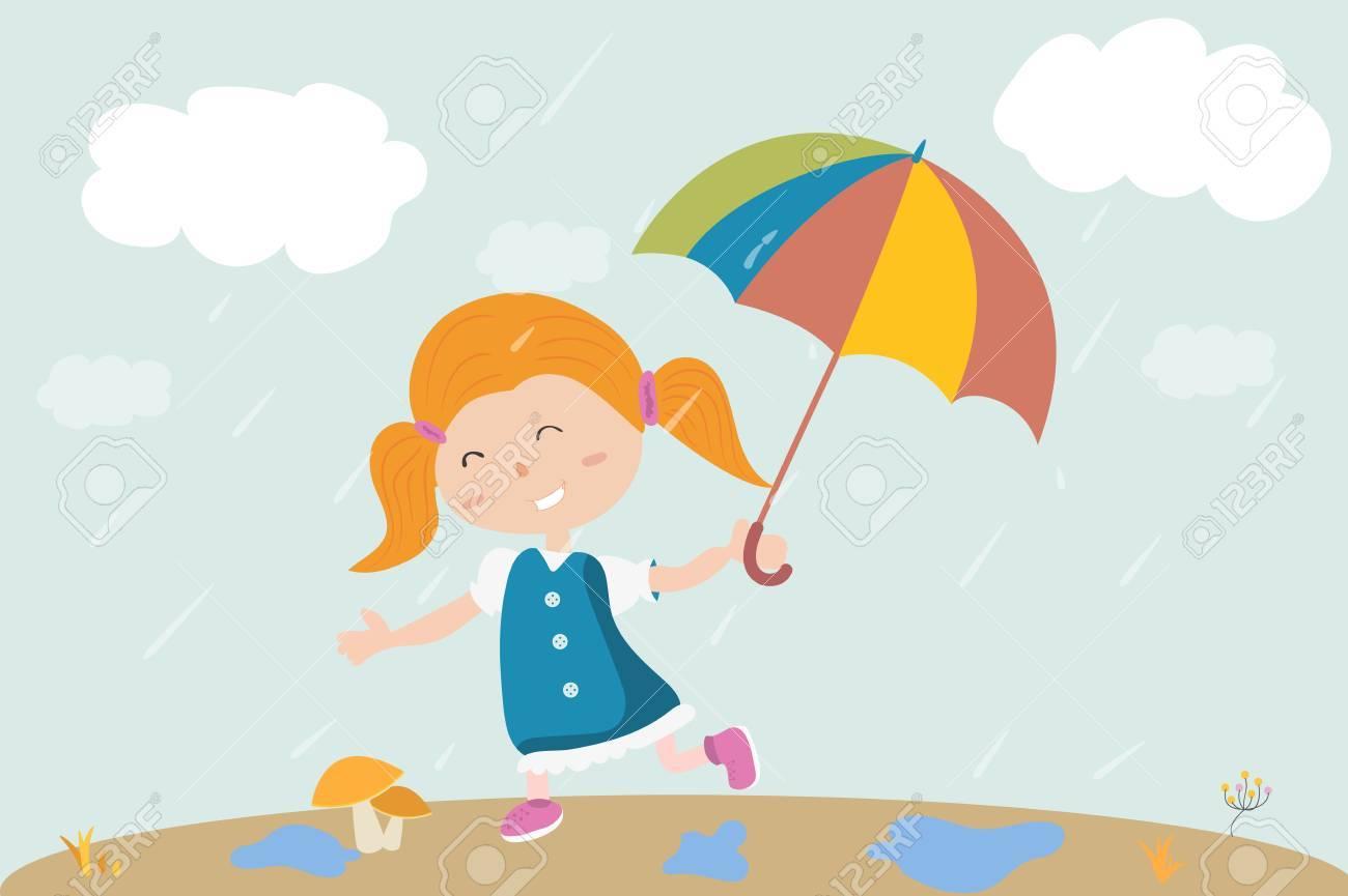 Une Fille Marche Sous La Pluie Avec Un Parapluie à La Main Bonjour Automne