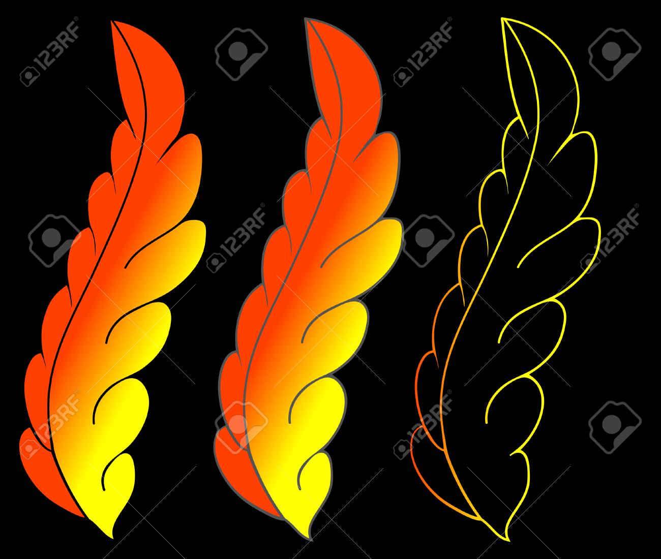 3 feathers on black surface Stock Vector - 4818195