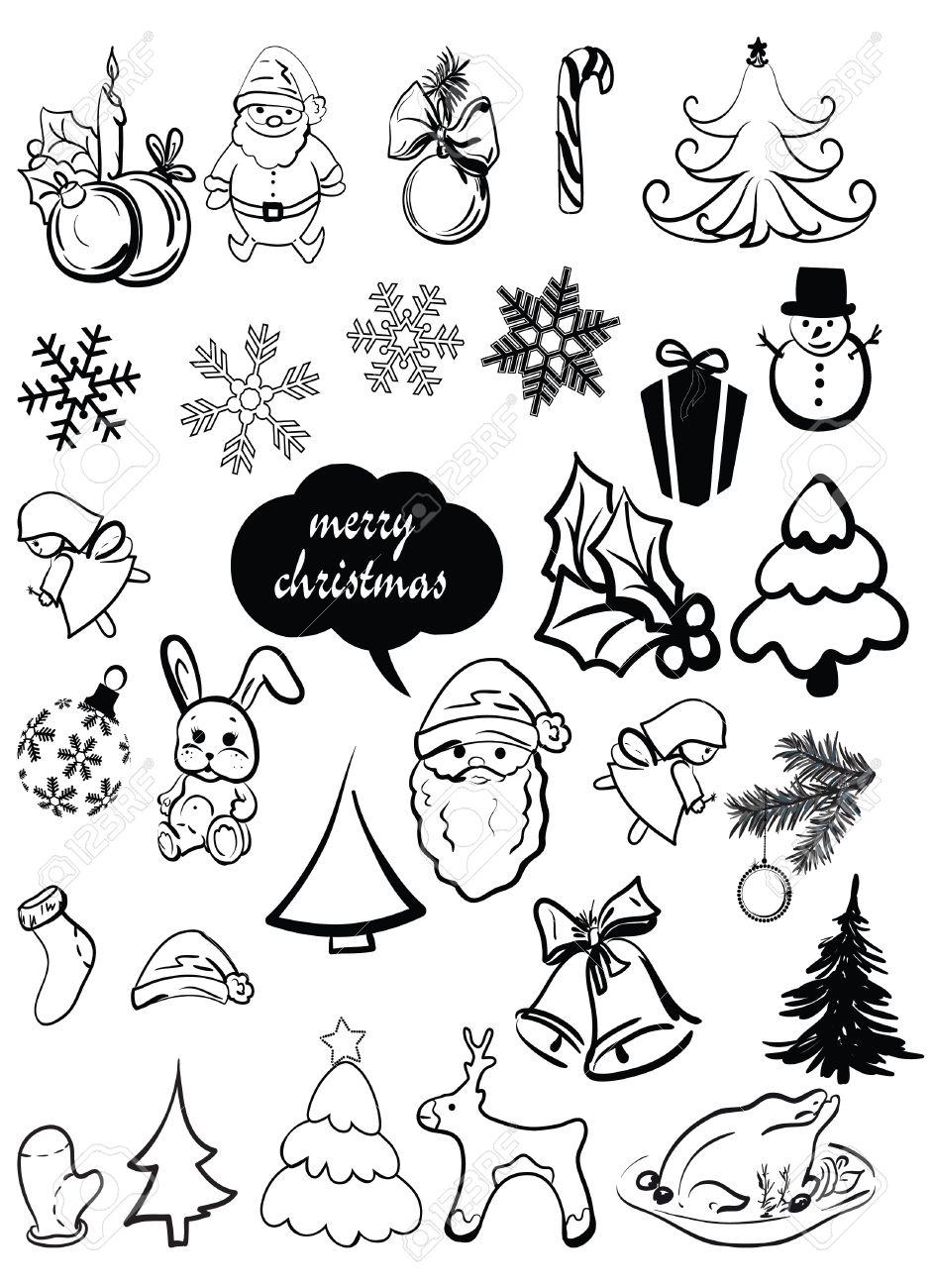 New Year s, Christmas elements, santa, a deer, a sugar candy, caramel, a sweet, a fir-tree, a snowflake, etc Stock Vector - 12429946