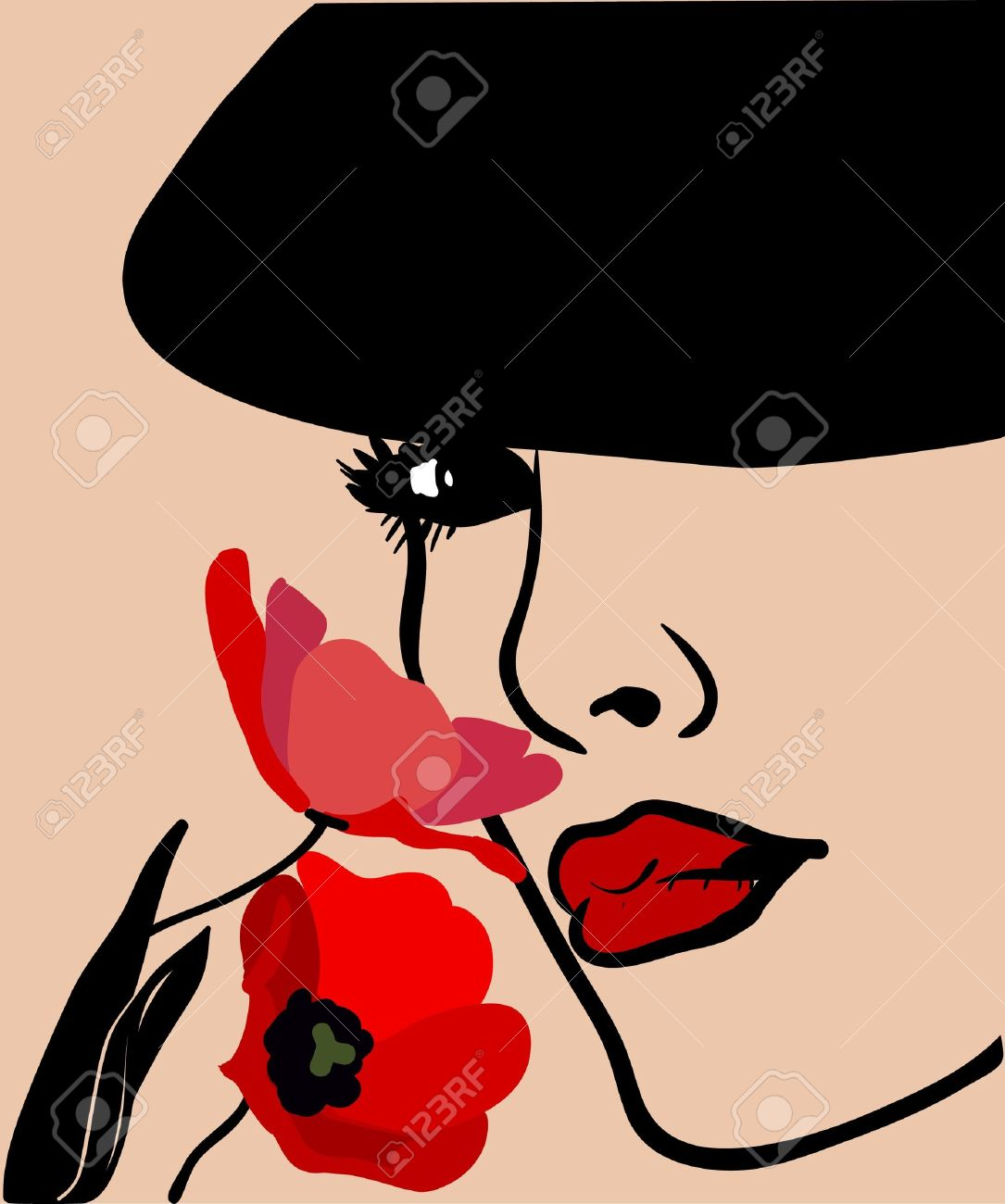 Background with a woman s face in a hat and flowers Stock Vector - 12429942