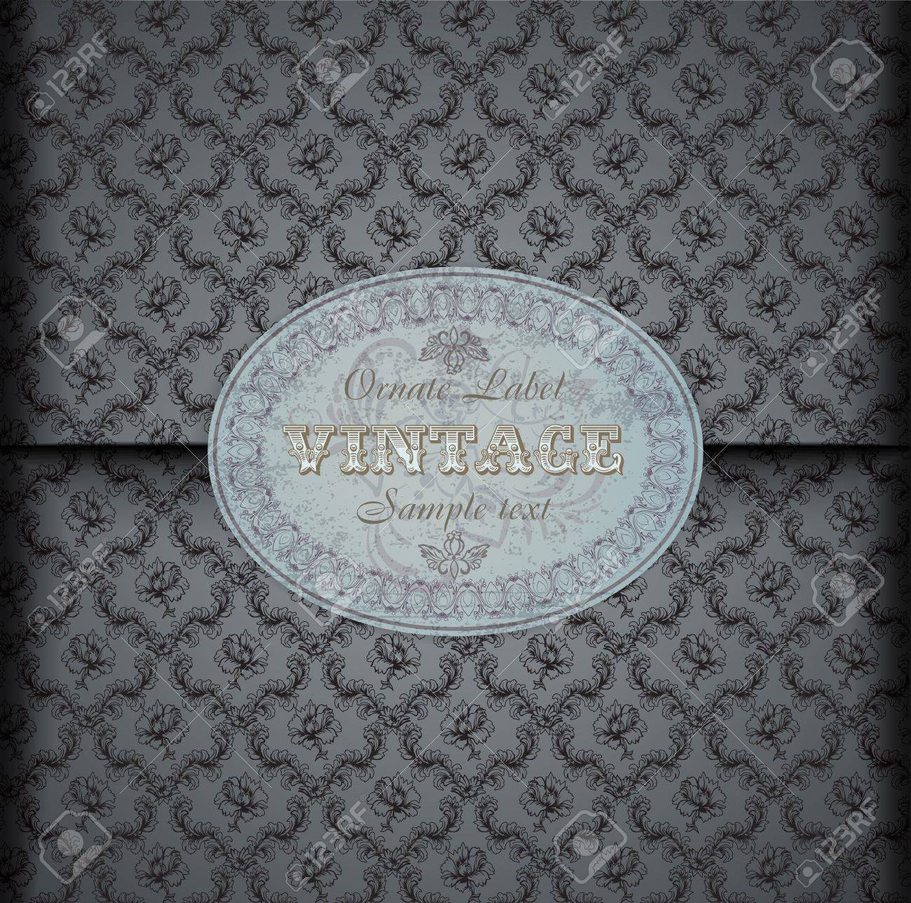 Seamless damask pattern Background with Vintage Label Stock Vector - 12496969
