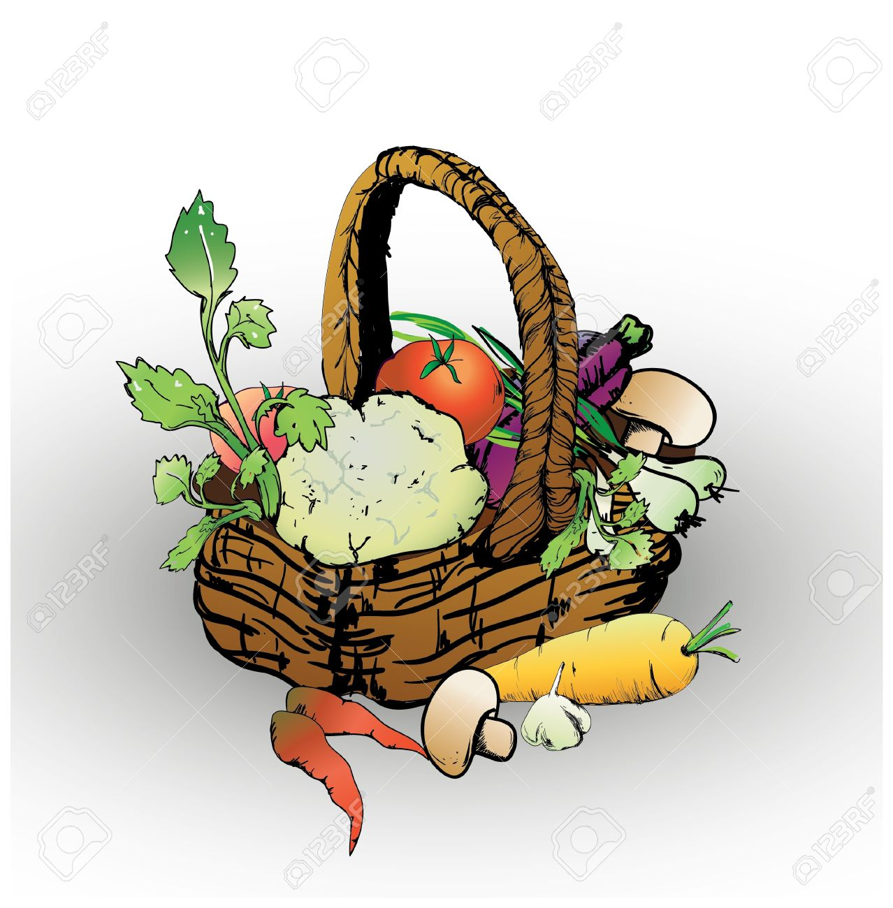 Basket With Vegetables And Mushrooms And Greens Royalty Free