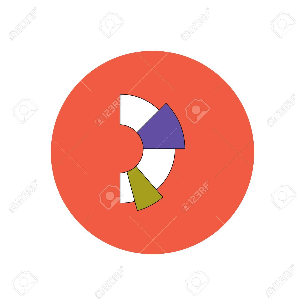 Vector Illustration In Flat Design Of Business Half Pie Chart