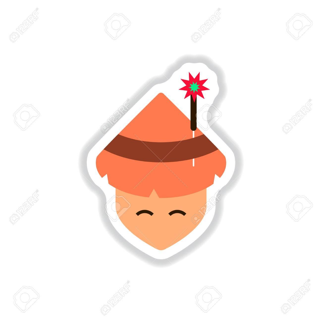 紙ステッカー スタイル線香花火と伝統的な円錐形の帽子で中国人の男に