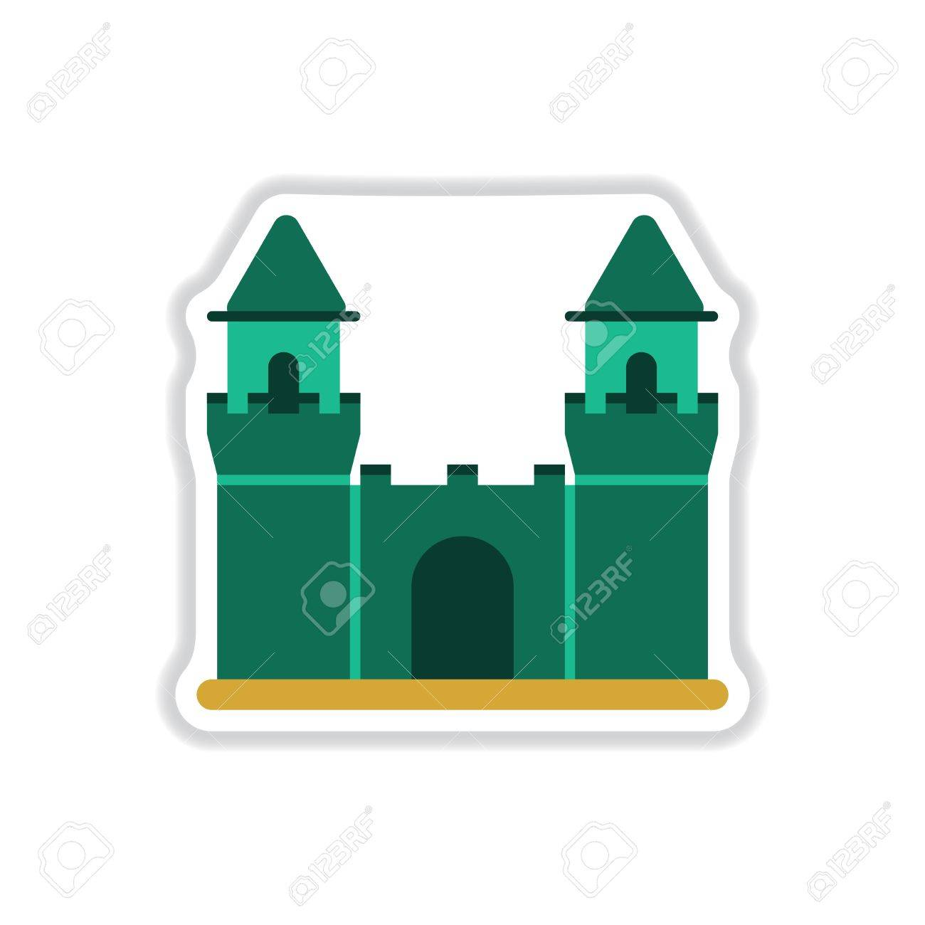 Vector Illustration In Paper Sticker Style Medieval Castle Royalty ...