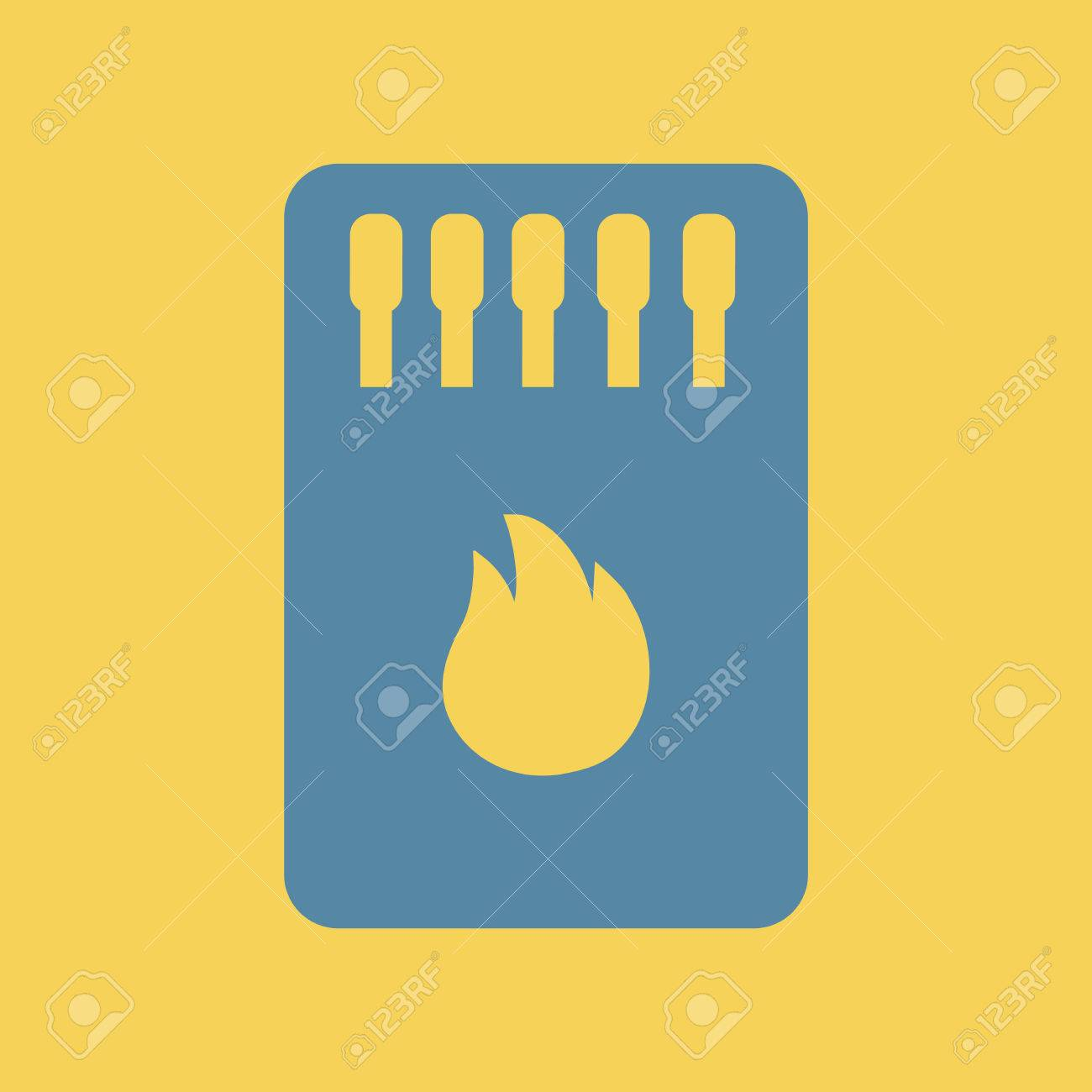 Simple Illustration Of A Flat Icon Of A Matchbox And Matches ...