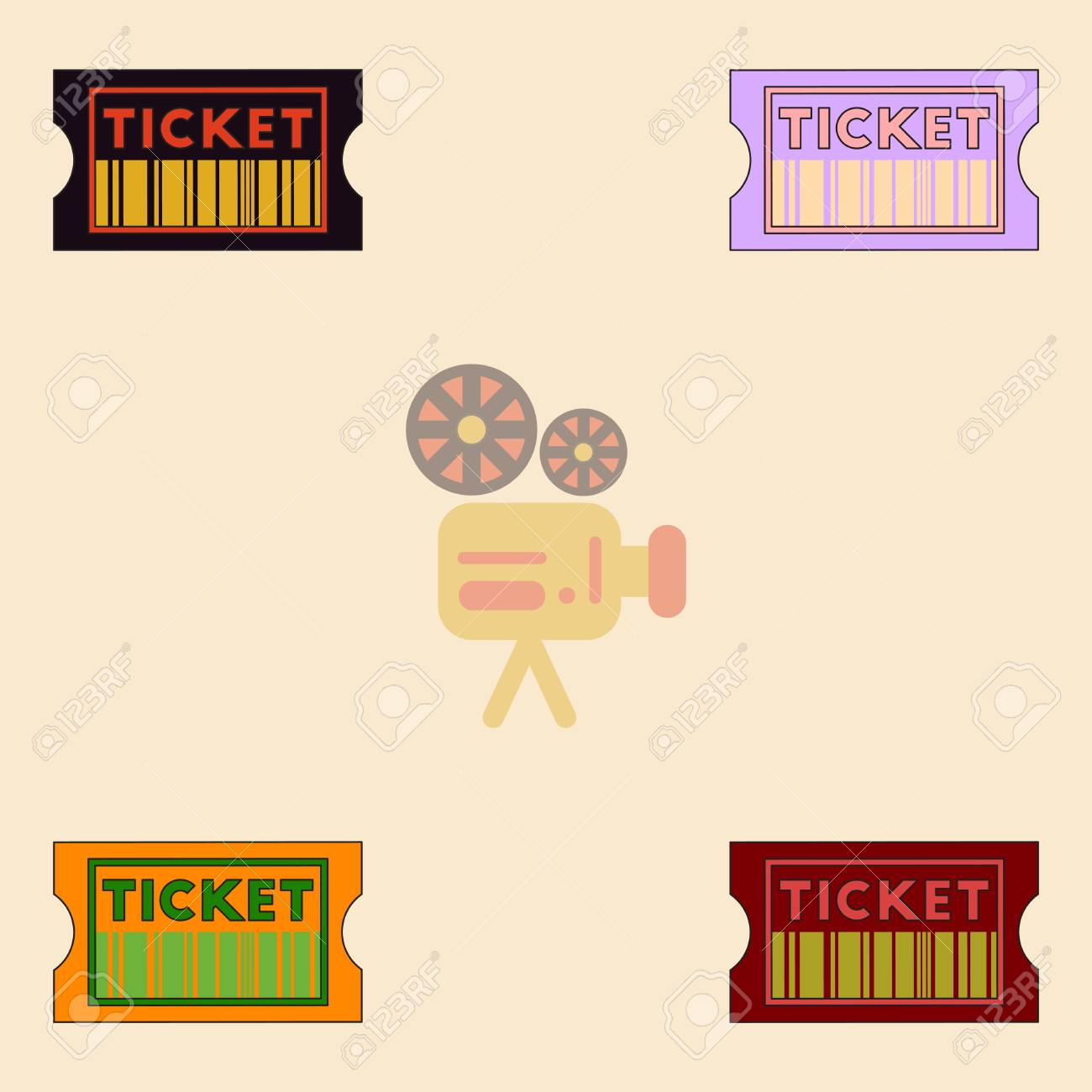 Movie Ticket Vector Illustration Collection In Flat Style Cinema With Barcode Stock