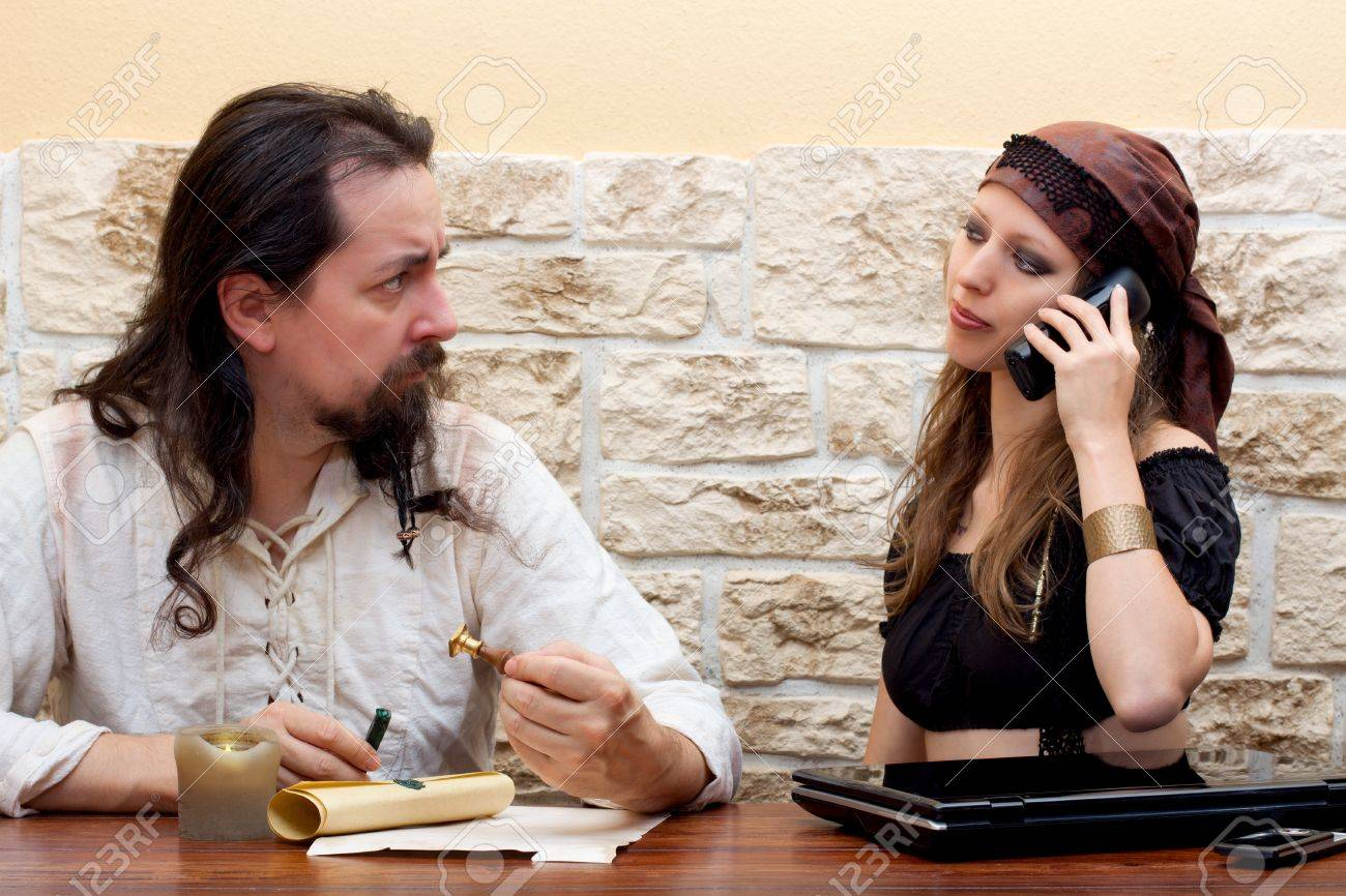 Man uses traditional way, women Stock Photo - 16972477
