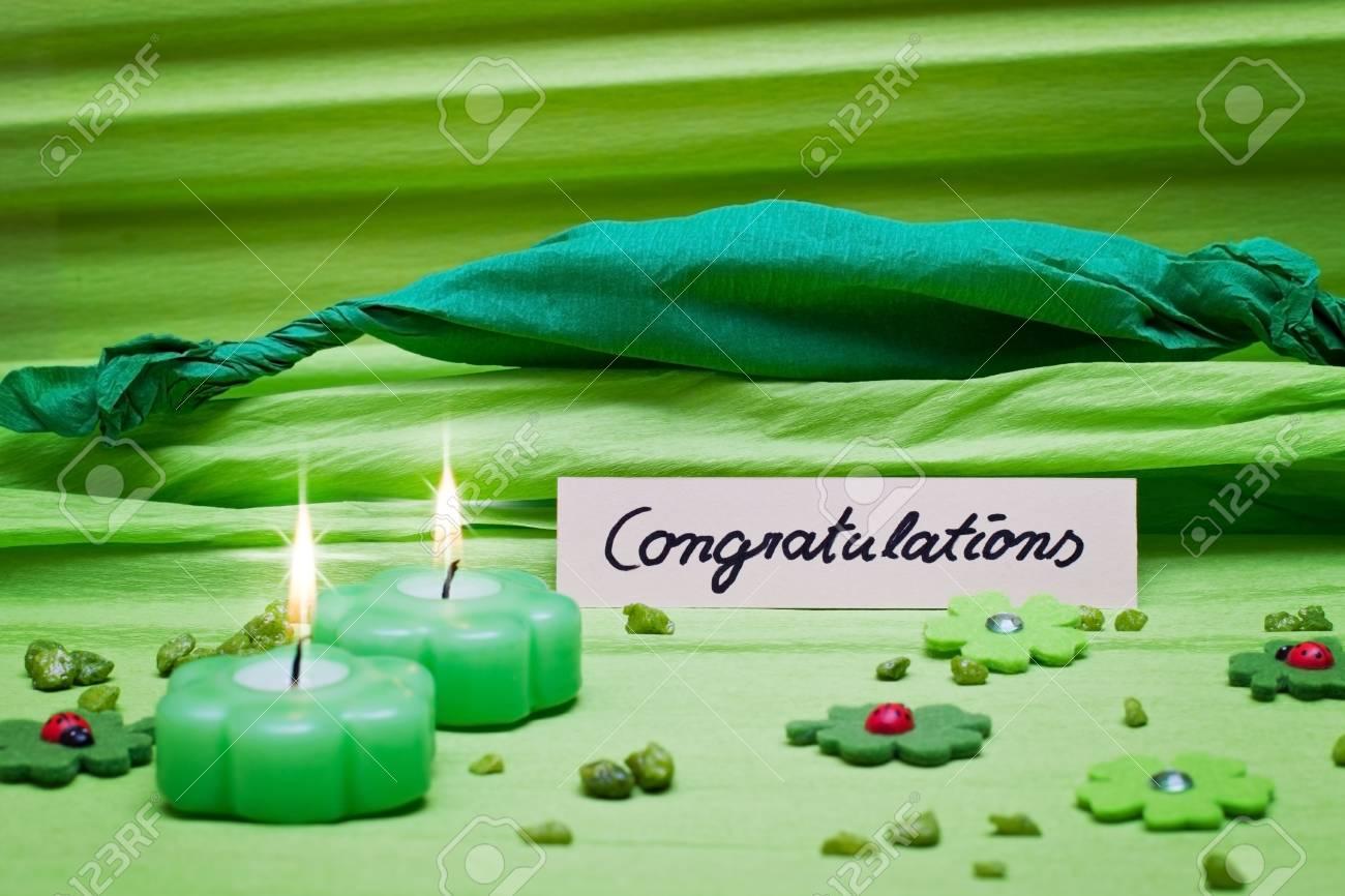 festive romantic green background decoration Stock Photo - 17469747