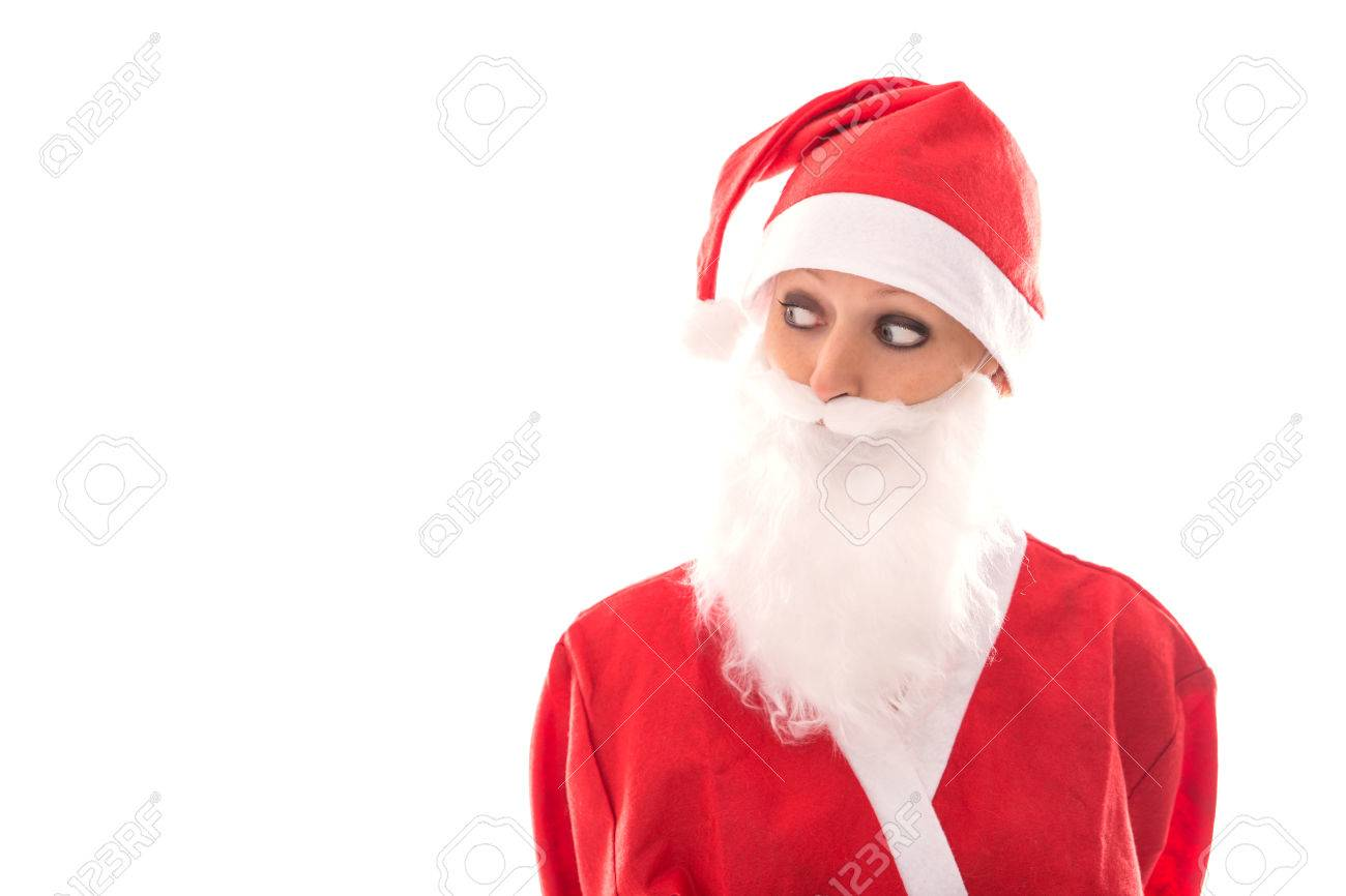 funny santa girl looking to copyspace isolated on white background