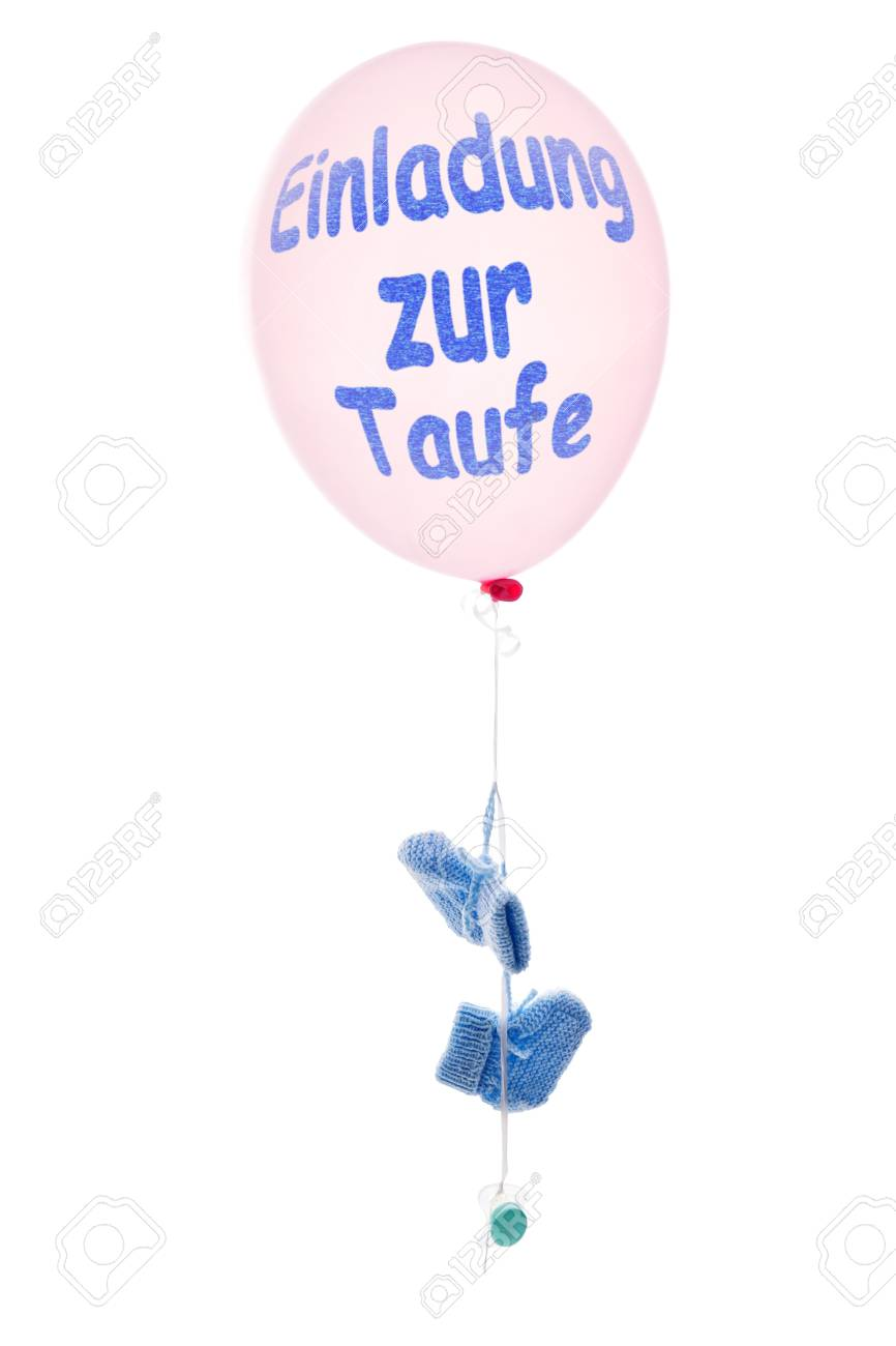 Pink Balloon With Little Blue Baby Shoes German Text Einladung