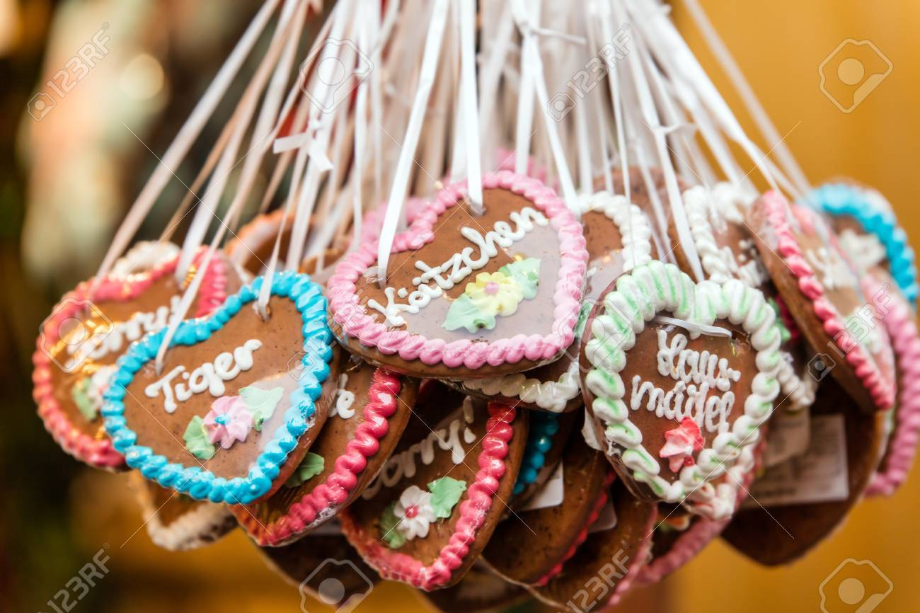 Lots Of Gingerbread Hearts With German Words And Messages Concept