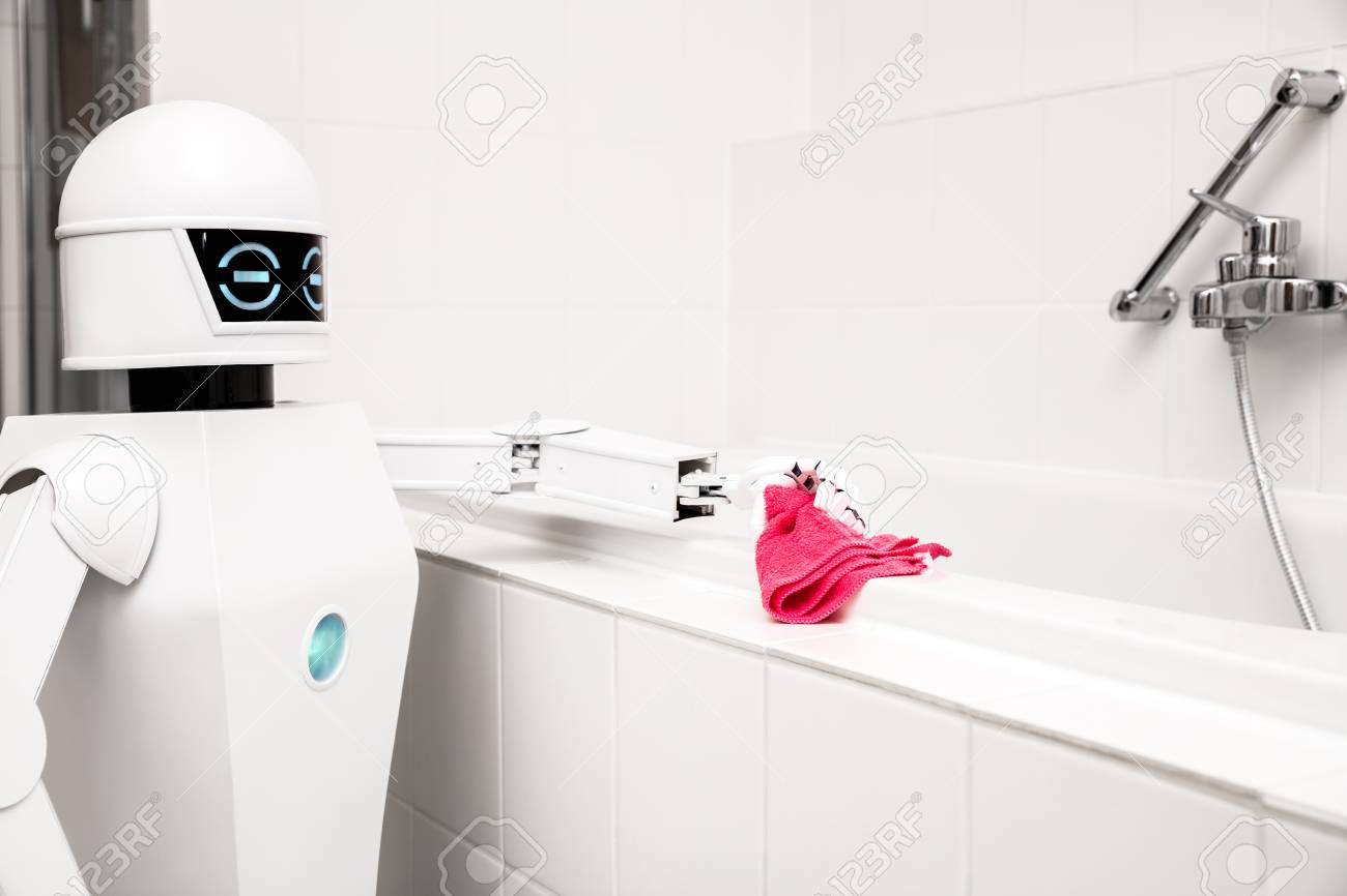 autonomous service robot is cleaning the bathtub in the bathroom