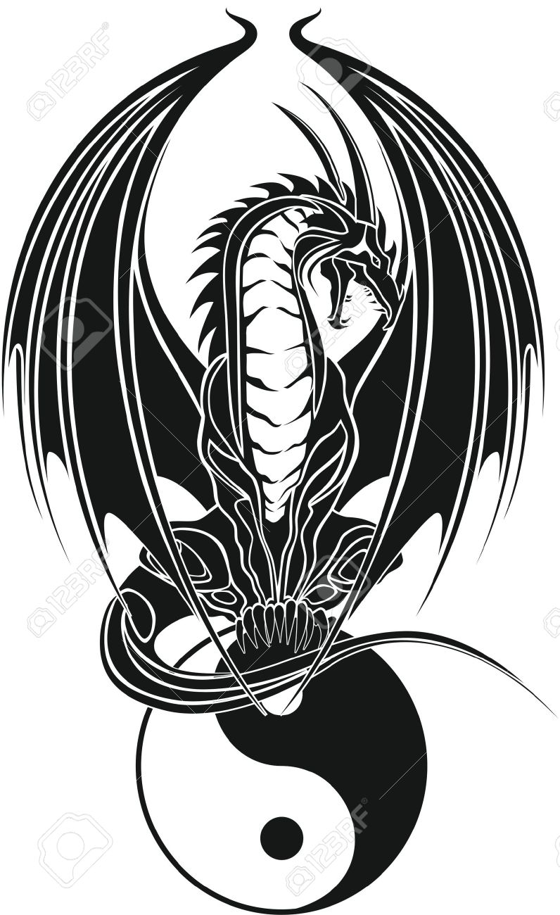 Dragon Tribal wie Yin und Yang Standard-Bild - 12802744