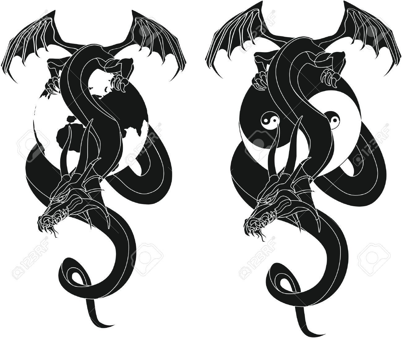 dragon tribal like yin and yang Globe Standard-Bild - 12802740