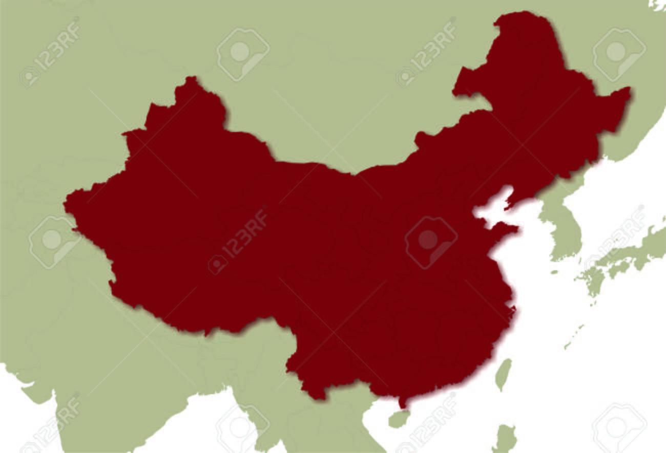 Karte von China mit Provinzen, das Litoral Standard-Bild - 57860747