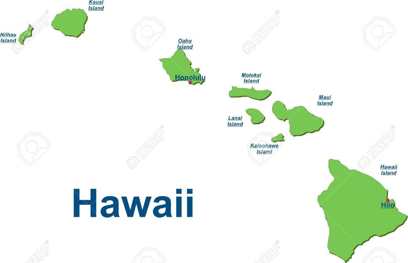 Karte der Hawaii-Inseln Standard-Bild - 57943240