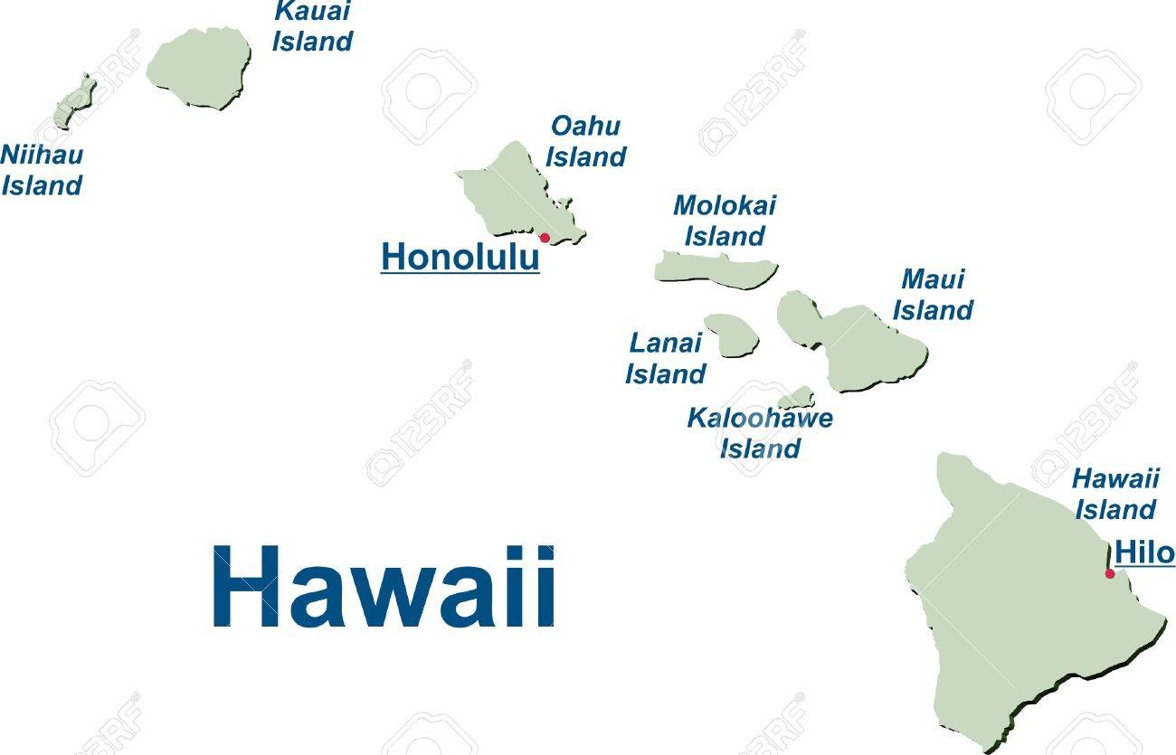 Map of the Hawaiian Islands Standard-Bild - 57943241
