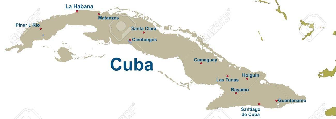 Karte von Kuba  Standard-Bild - 57943606