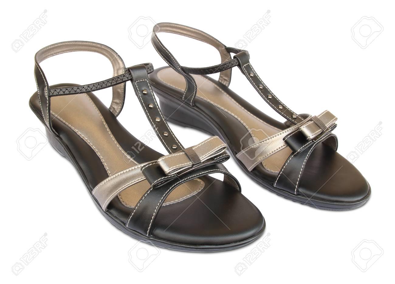 173fce8f9b538 Female leather sandals isolated on white background. Stock Photo - 92117763
