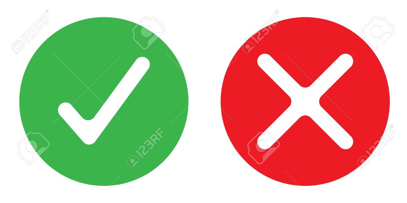 plain icon showing yes or no color vector - 126915004