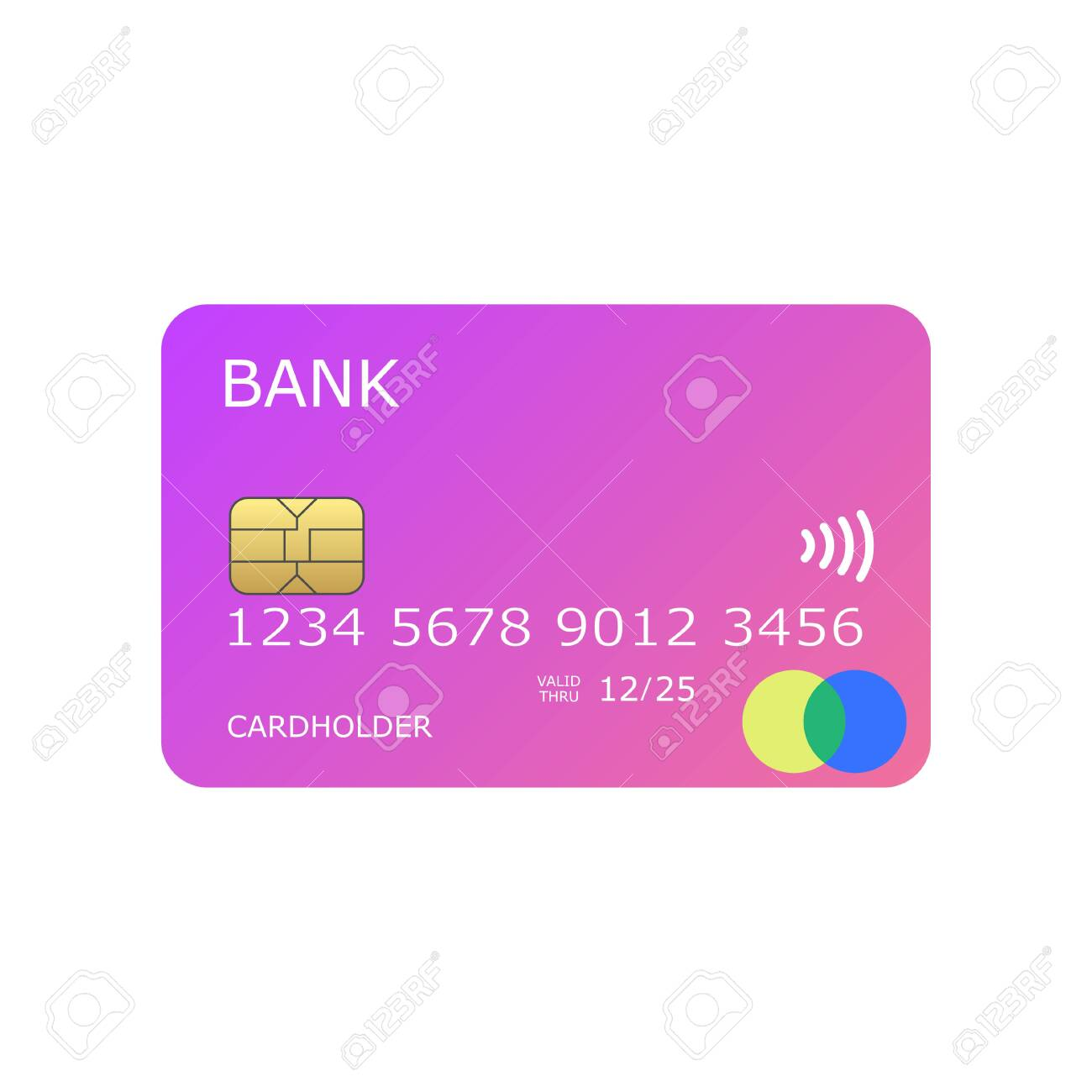 colorful pinky mock up credit card vector illustration - 129123657