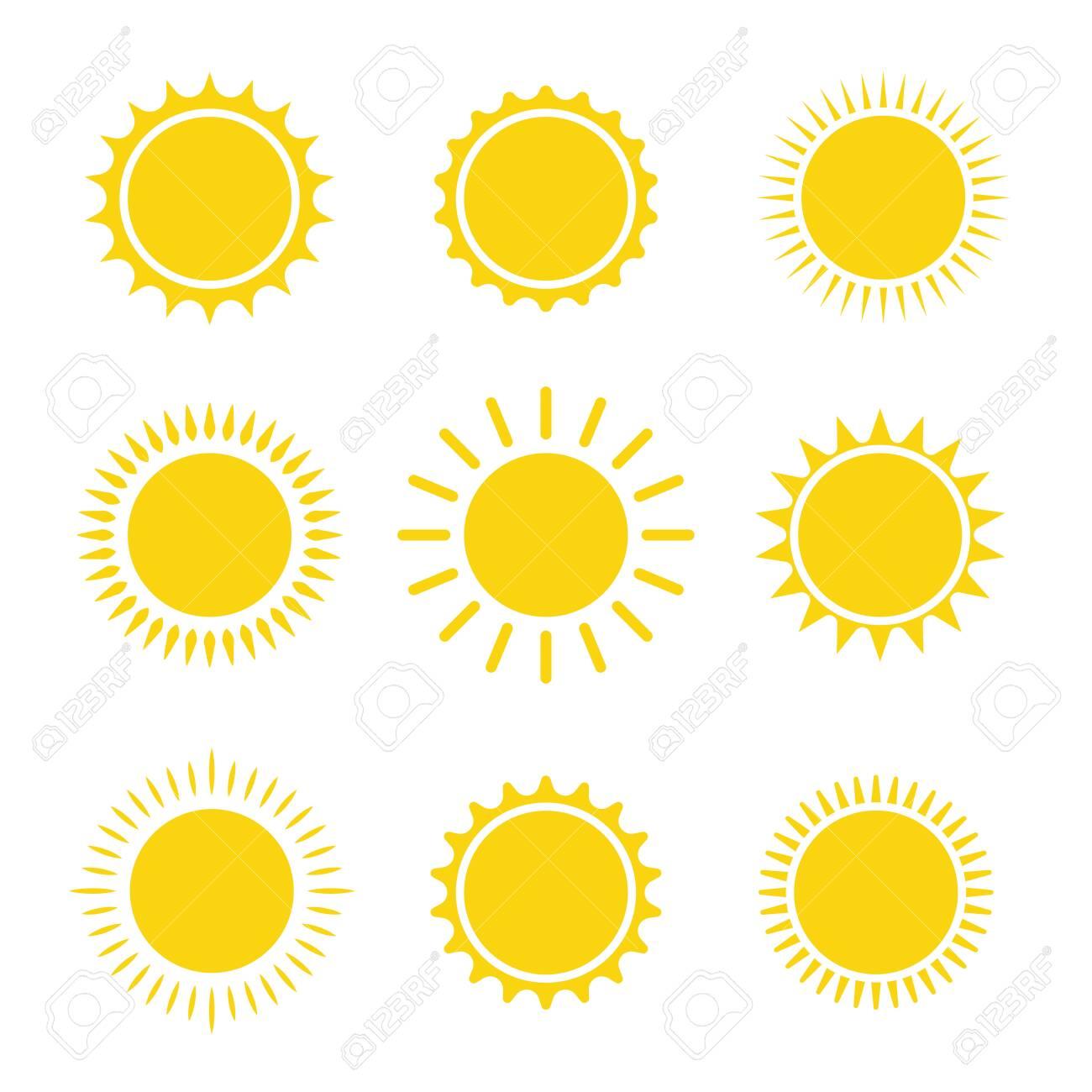 sun icon set summer graphic symbol vector illustration - 145147351
