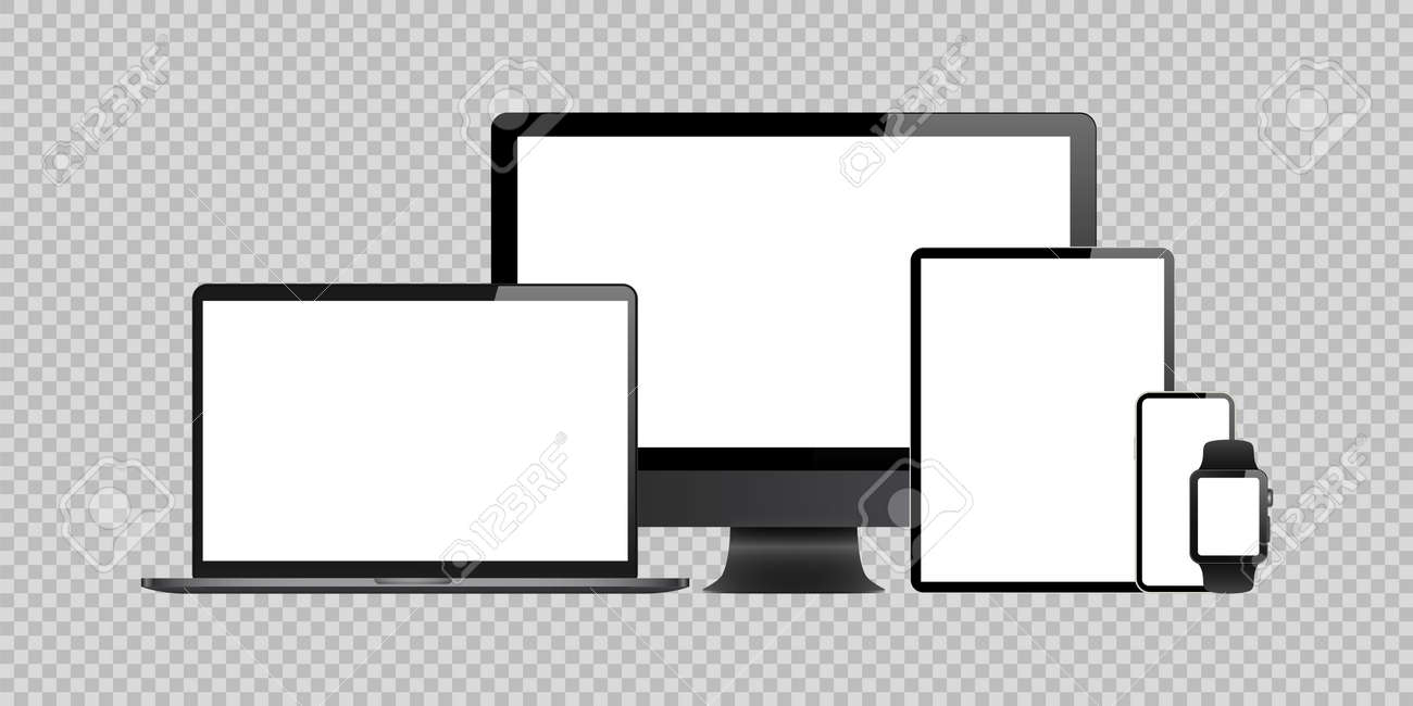 laptop, computer, tablet, mobile, watch mockup isolated blank screen vector set. white monitor touchscreen gadget technology equipment. phone, smartphone, smartwatch background - 156098490