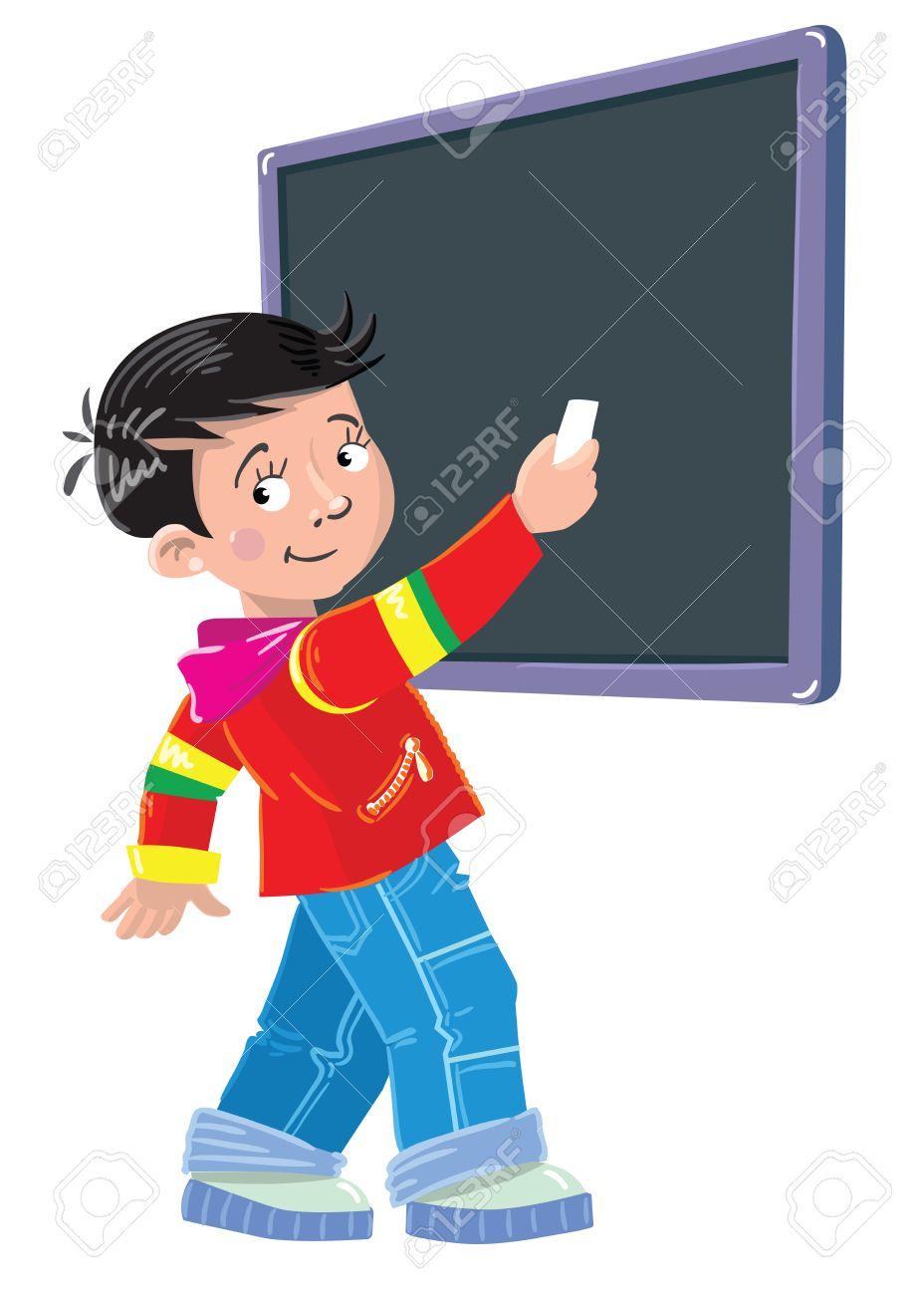 Tafel schreiben clipart  Schüler Schreibt Kreide Auf Eine Tafel Lizenzfrei Nutzbare ...