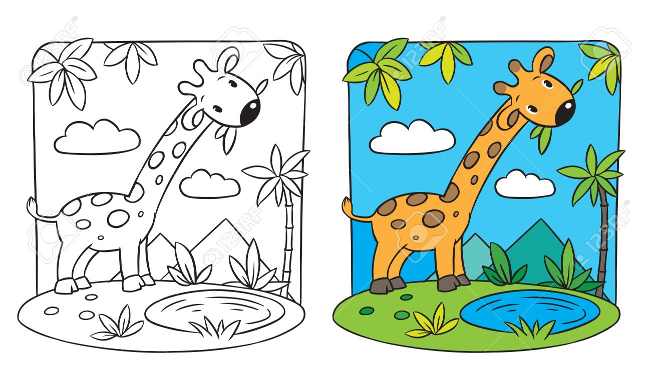 Coloring Picture Coloring Book Of Giraffe On A Green Lawn Royalty ...