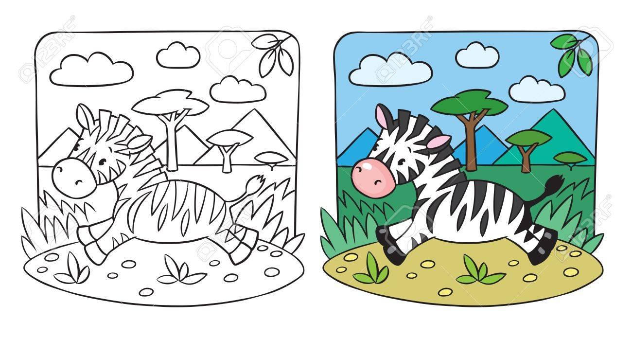 Ausmalbild Wenig Spaß Zebra Läuft Auf Savanne Lizenzfrei Nutzbare ...