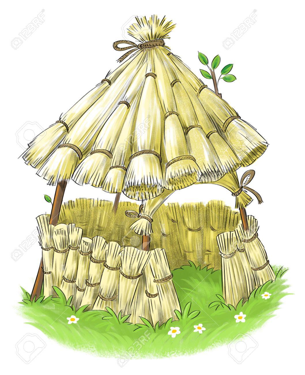Banque dimages fée maison de paille de trois petits cochons conte de fées