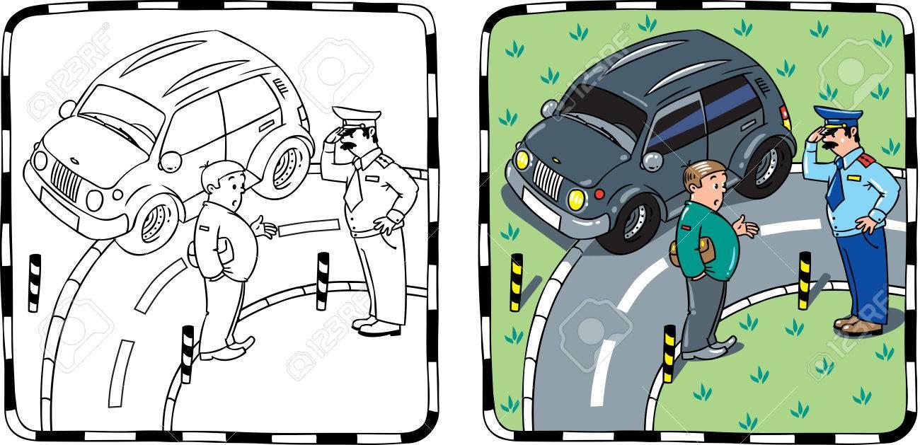 El Policía Y El Conductor Del Coche Libro Para Colorear
