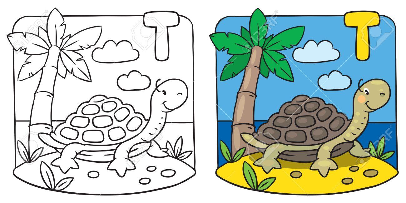 Kleine Schildkröte Malbuch. Alphabet T Lizenzfrei Nutzbare ...