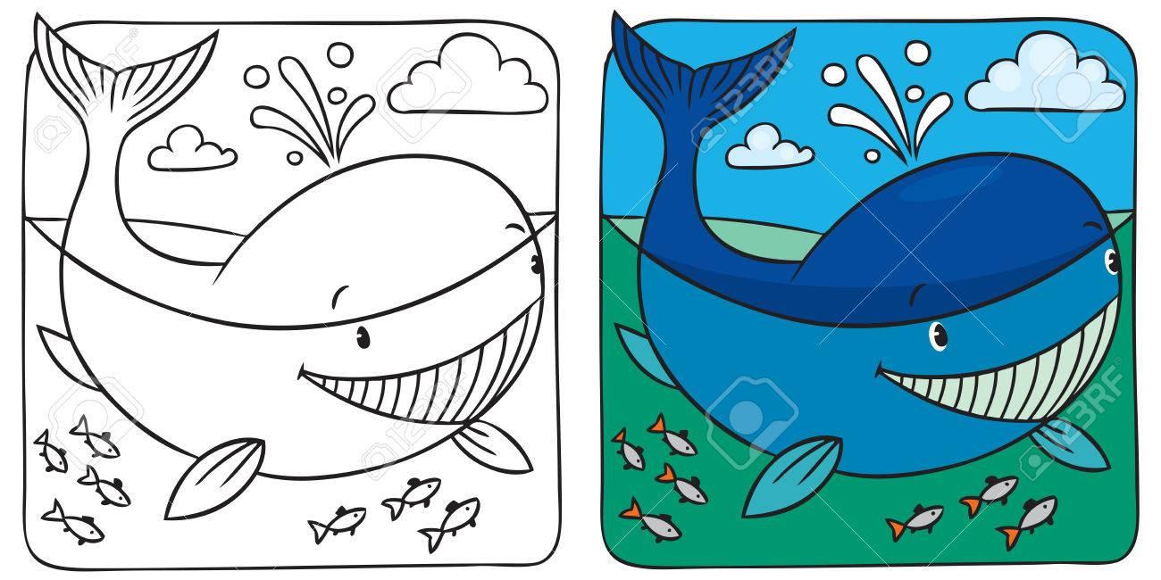 Imagen Para Colorear De Pequeña Ballena Divertido En El Mar