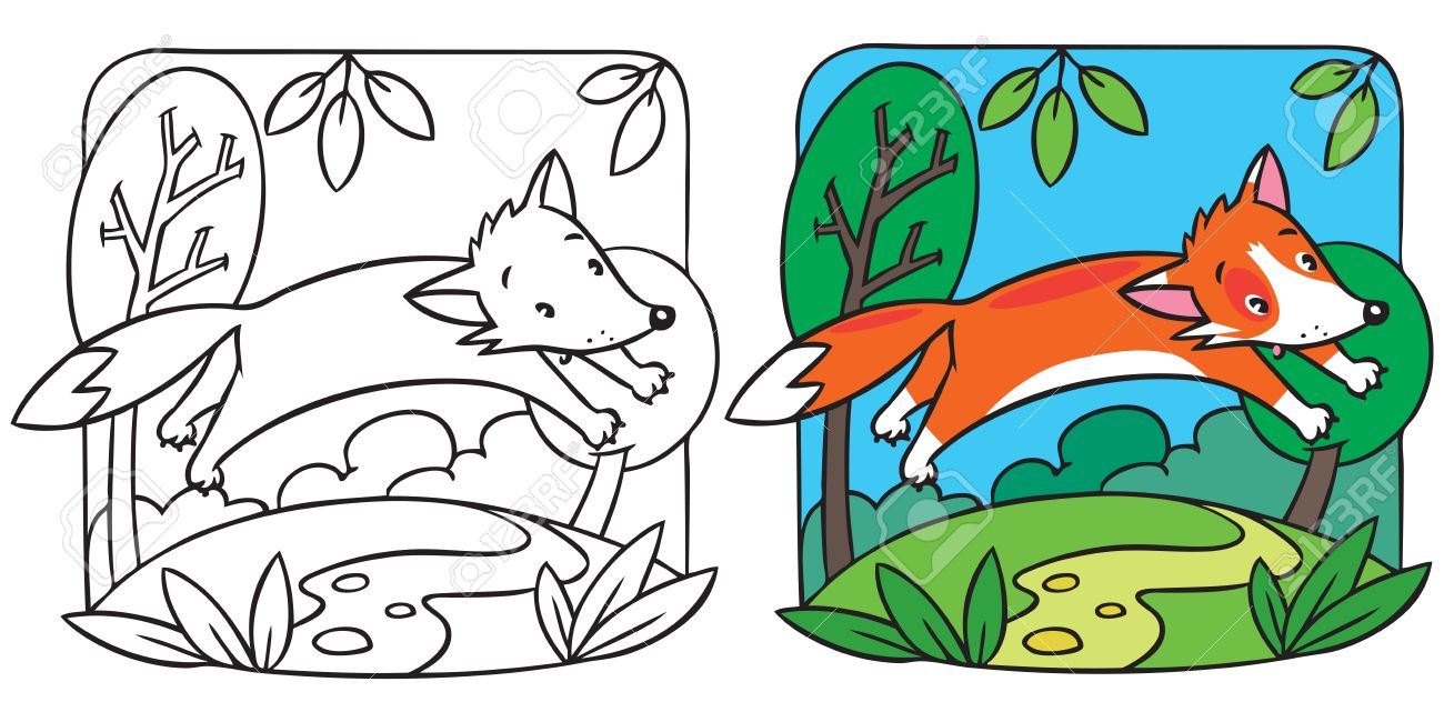 Coloring Picture Or Coloring Book Of Little Funny Red Fox At ...