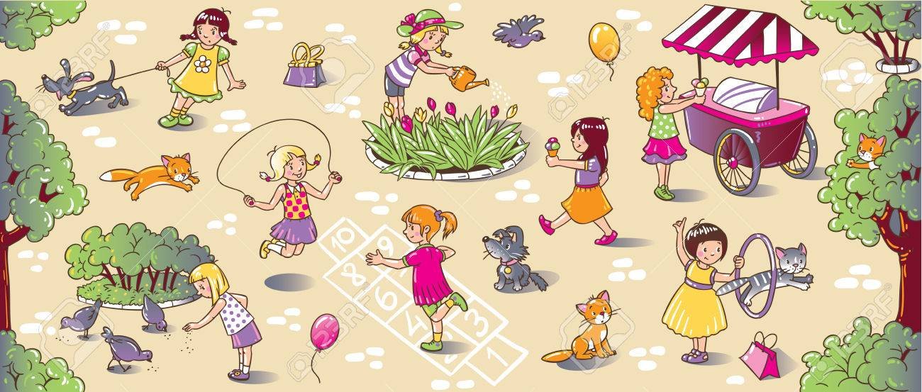 Big Nahtlose Muster Oder Bild Reihe Von Kleinen Mädchen Spielen Auf