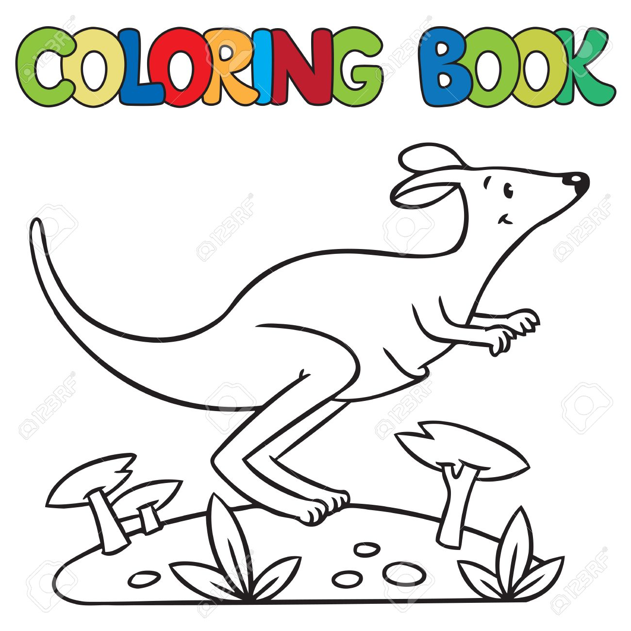 Coloring Book Or Picture Of Little Funny Jumping Kangaroo Running Through The Desert Stock